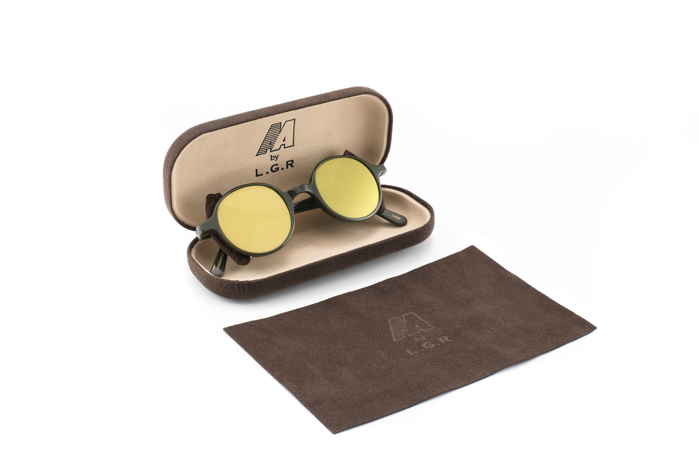 3099-REUNION FLAP AA BY L.G.R-GREEN 14-BROWN ALCANTARA-FLAT GOLD MIRROR-PACKAGING-1